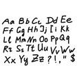 english alphabet scribble sketch vector image