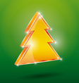 Golden fir 3 D on a green background New Year vector image vector image