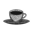 hand drawn coffee cup on saucer logo design vector image vector image