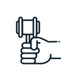 hand with hammer law peace and human rights line vector image vector image