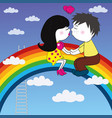loving couple sitting on a rainbow and kisses vector image vector image