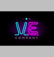 neon lights alphabet ve v e letter logo icon vector image vector image