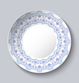ordinary ceramic dish chinese painting on vector image