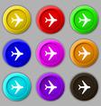 Plane icon sign symbol on nine round colourful vector image