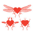 red dragonfly with abstract flying heart vector image vector image