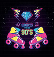 roller skates of eighties and nineties retro vector image vector image