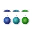 Set of Blue Turquoise Green Rain Umbrella Sunshade vector image vector image