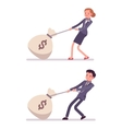 Set of businessman and businesswoman dragging a vector image