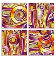 Set of doodle ethnic hand drawn cards vector image