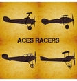 Set of retro airplane WW1 vector image