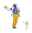 singer in white suit and a glove dancing with vector image vector image