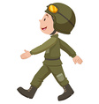 Soldier in green uniform walking vector image vector image