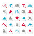 stylized camping and tourism icons vector image vector image