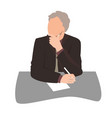 thinking or listening businessman sitting at desk vector image