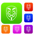 vendetta mask set color collection vector image vector image