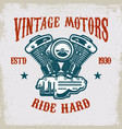 vintage motorcycle motor on grunge background vector image
