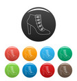 woman shoes icons color set vector image vector image