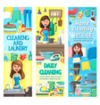 women with cleaning tools doing housework vector image vector image