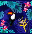 seamless pattern with flowers and toucan bird vector image