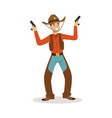 smiling cowboy holding his guns western cartoon vector image