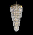 A chandelier with crystal pendants on black