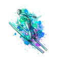 abstract jumping skier from a splash of watercolor vector image vector image
