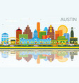 austin texas skyline with color buildings blue vector image vector image