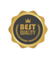 best quality gold sign round label vector image vector image