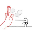 big hand with cartoon character - stop sign vector image vector image