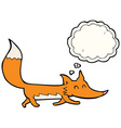cartoon little fox with thought bubble vector image vector image
