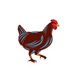 Chicken Hen Walking Side Woodcut vector image