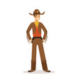 cowboy in american traditional costume western vector image