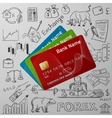 credit cards and exchange doodle icon vector image vector image