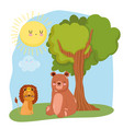 cute animals lion and bear sitting on grass forest vector image vector image
