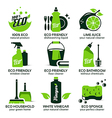 flat icon set for green eco cleaning vector image