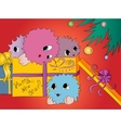 four cute colorful monsters in gift box under vector image