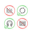 full rotation dot plot and headphones icons set vector image vector image