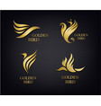 golden birds set luxury logos isolated vector image