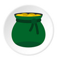 green bag full of gold coins icon circle vector image vector image