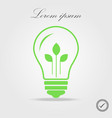 Green contour of shining electric light bulb with vector image