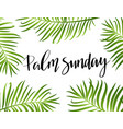 green palm leafs icon palm sunday text vector image