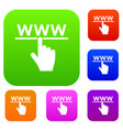 hand cursor and website set collection vector image vector image
