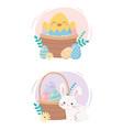 happy easter day bunny chicken basket eggs vector image