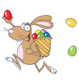 Happy Easter Rabbit Running With A Basket And Egg vector image vector image