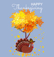 happy thanksgiving celebration with cartoon turkey vector image vector image