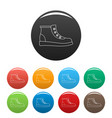 hiking boots icons color set vector image vector image