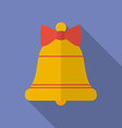 Icon of Christmas Bell with a bow Flat style vector image vector image