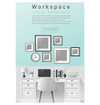 Interior design Modern workspace banner 6 vector image