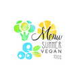menu summer vegan 100 percent logo element for vector image vector image