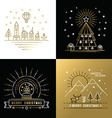 Merry christmas outline gold set label city xmas vector image vector image